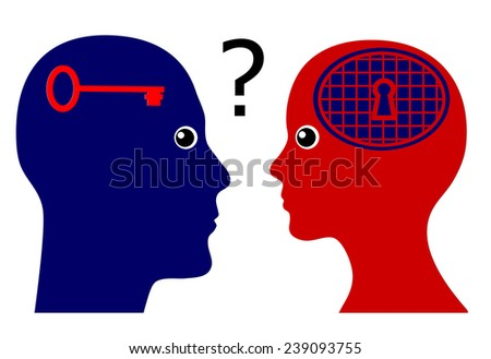 Knowing the Female Psyche. Concept sign of a man rising psychological questions about women - stock photo