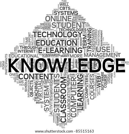 Knowledge and e-learning concept in tag cloud on white background