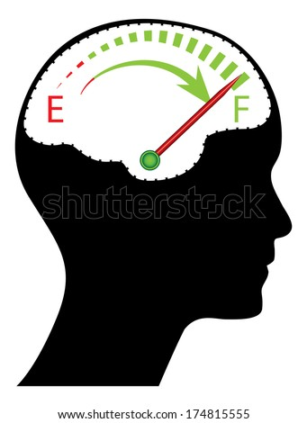 Knowledge, brainstorm, time management, solution concept design with human head and brain, raster version. - stock photo