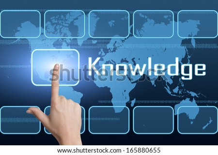Knowledge concept with interface and world map on blue background - stock photo