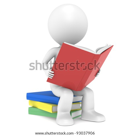 Knowledge. 3D little human character sitting on a pile of Books, reading. People Series. - stock photo