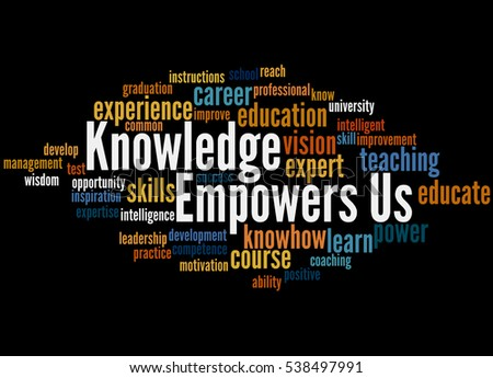 Knowledge Empowers Us, word cloud concept on black background.
