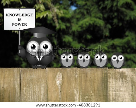 Knowledge is power sign with bird teacher and students perched on a wooden fence     - stock photo