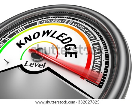 Knowledge level conceptual meter to maximum, isolated on white background