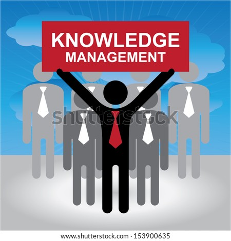 Knowledge Management or KM Concept Present By Group of Businessman With Red Knowledge Management Sign on Hand in Blue Sky Background - stock photo