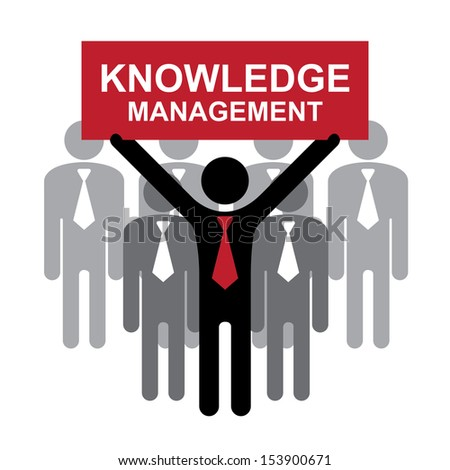 Knowledge Management or KM Concept Present By Group of Businessman With Red Knowledge Management Sign on Hand Isolated on White Background  - stock photo