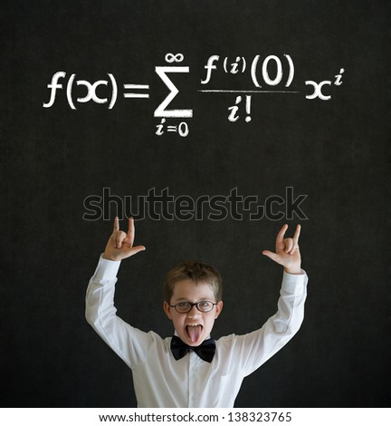 Knowledge rocks boy dressed up as business man with maths equation on blackboard background - stock photo