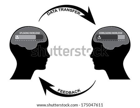 knowledge sharing, data transfer design, raster version. More variations available in my portfolio.  - stock photo