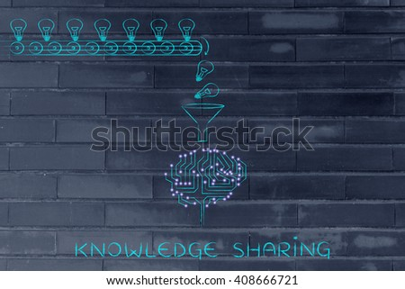 knowledge sharing: production line with idea lightbulbs being processed by the microchips & circuits composing an artificial brain