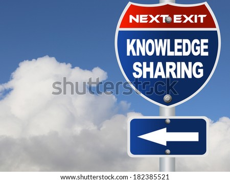 Knowledge sharing road sign - stock photo