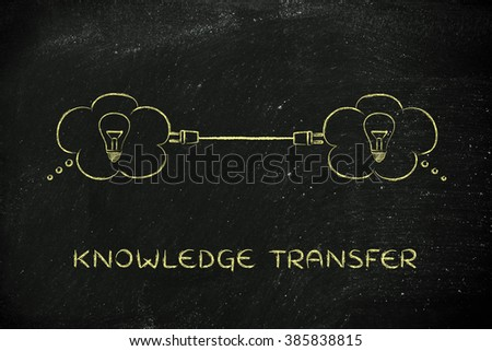 knowledge transfer: thought bubbles with lightbulb connected with a plug - stock photo