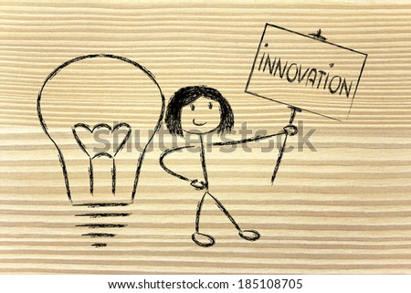 knowledgeable girl holding a sign saying innovation - stock photo