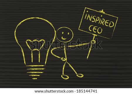 knowledgeable man holding a sign saying inspired ceo - stock photo