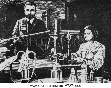 known to chemists: Pierre Curie and Marie Sklodowska-Curie in laboratory, circa 2008
