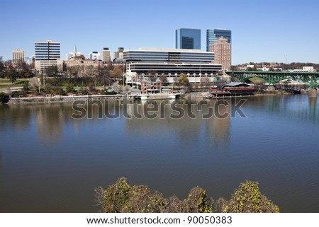 Knoxville morning panorama seen accross Tennessee River - stock photo