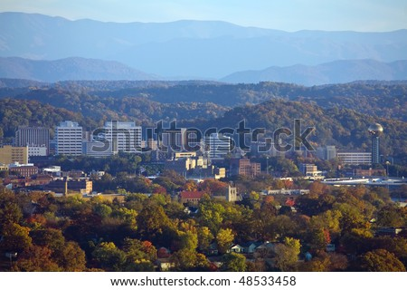 Knoxville skyline and the Great Smoky Mountains.