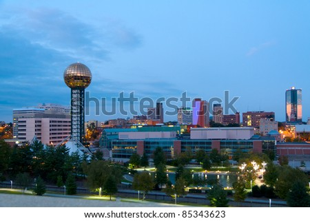 Knoxville, Tennessee at dusk - stock photo