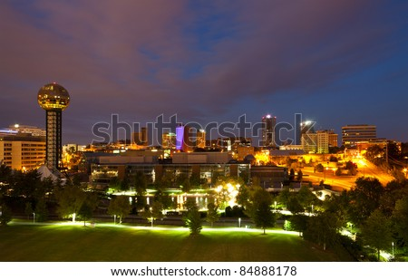Knoxville, Tennessee at night - stock photo