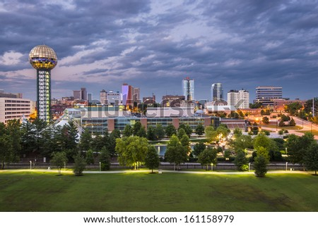 Knoxville, Tennessee downtown skyline. - stock photo