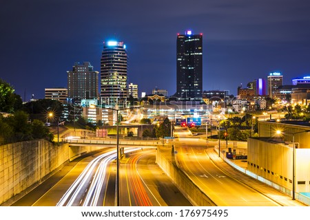 Knoxville, Tennessee, USA downtown at night. - stock photo