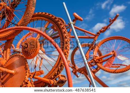 Knutsford, UK - September 11, 2016: Orange bike sculpture in Tatton park, knutsford to promote the Cheshire leg of the September Tour of Britain.
