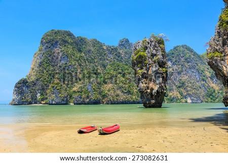 Ko Khao Phing Kan and Ko Tapu islands known as James Bond Island. Phangnga Bay, Thailand - stock photo
