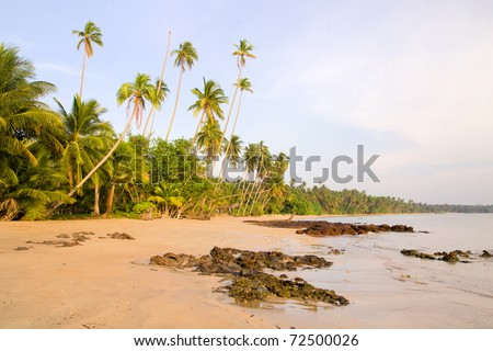 Ko Mak island in Thailand picturesque beach scenery at late afternoon - stock photo