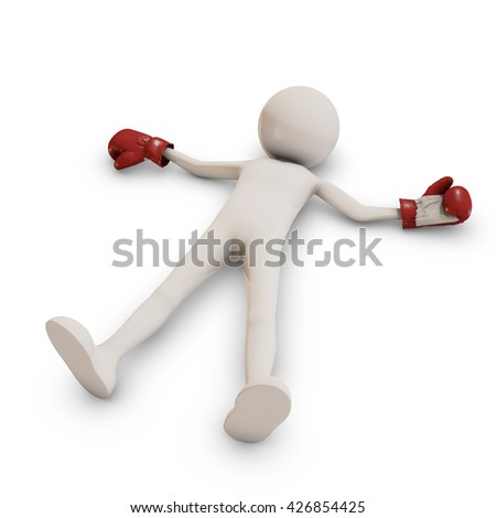 Ko man with boxing gloves, 3D rendering