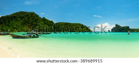 KO PHI PHI, THAILAND - CIRCA MAY 2015: Panoramic landscape of Loh Dalam bay at Phi Phi island, Thailand. - stock photo