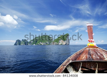 ko phi phi tropical island view from boat in thailand - stock photo