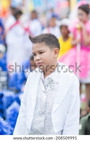 KO SAMUI,SURAT THANI - JULY 23 : Unidentified Thai students 6 - 18 years old in ceremony uniform during sport parade on July 23, 2014 in ko samui, Surat Thani, Thailand.