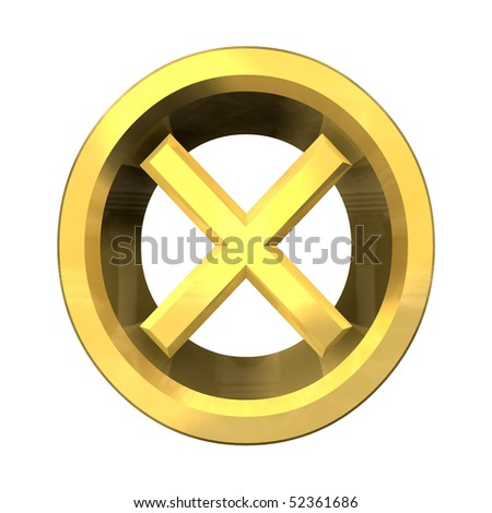ko tick in gold isolated - 3D - stock photo