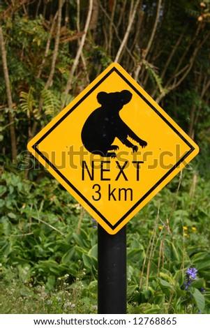 Koala bear hazard sign, Australia - stock photo
