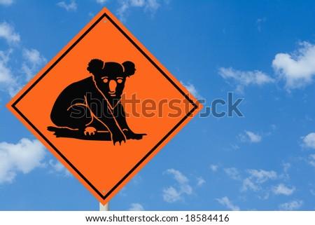 Koala Bear Road Sign - stock photo