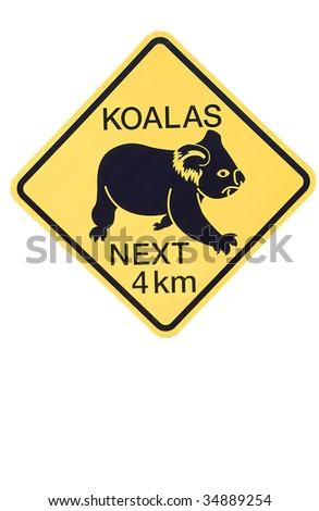 koalas crossing sign - stock photo