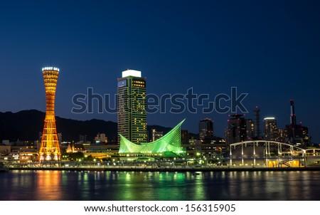 Kobe Port Tower Night Light. - stock photo