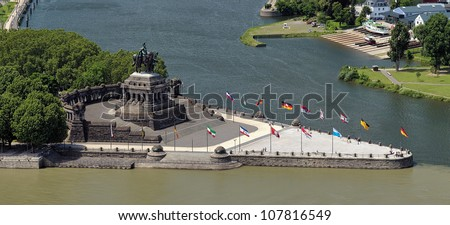 Koblenz, equestrian statue of William the Great on the German Corner (Deutsches Eck) at the confluence of Rhine and Mosel rivers, Germany - stock photo