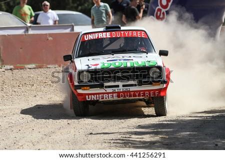 KOCAELI, TURKEY - JUNE 11, 2016: Burak Turkkan drives Ford Escort MK2 of Parkur Historic Team in Kocaeli Rally - stock photo