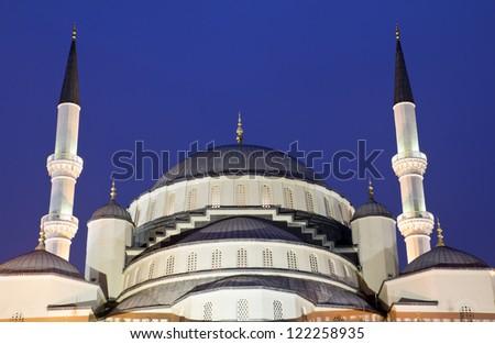 Kocatepe Mosque in Ankara - Turkey, at night - stock photo