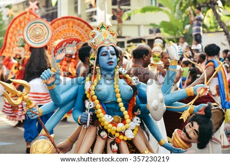 Kochi, India - January 1, 2016: Traditional dance during New Year carnival in Fort Kochi (Cochin), Kerala, India. - stock photo