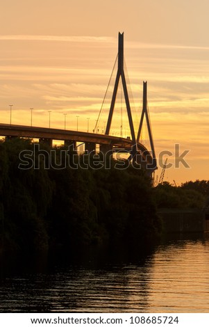 Koehlbrandbrucke harbor bridge at sunset
