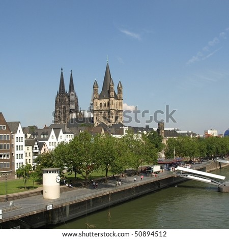 Koeln (Germany) panorama including the gothic cathedral and river Rhine