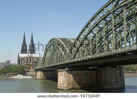 Koeln (Germany) panorama including the gothic cathedral and steel bridge over river Rhine