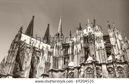 Koelner Dom, gothic cathedral church in Koeln (Cologne), Germany - high dynamic range HDR - black and white