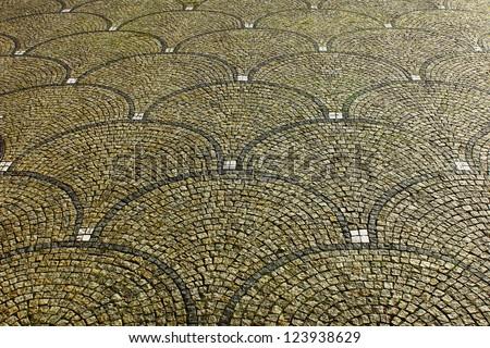 Koenigsplatz pavement, Munich, Germany - stock photo