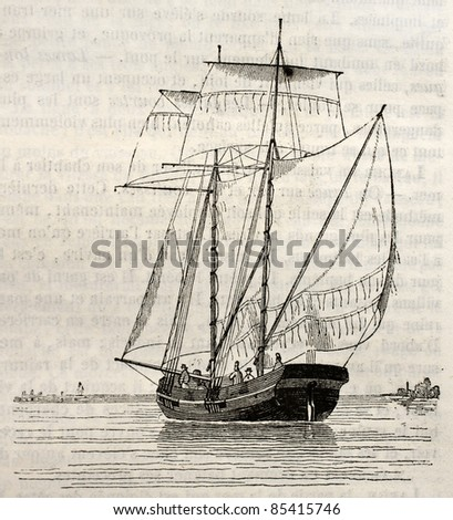 Koff old illustration (Dutch vessel). By unidentified author, published on Magasin pittoresque, Paris, 1842 - stock photo