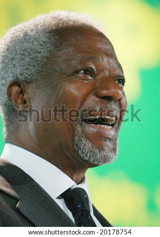 "Kofi Annan the seventh UN Secretary General (1997 - 2006) smiles as he participates in the First Ukrainian Intellectual Youth Forum ""Tomorrow: Peace Ukraine Me"" on Friday May 16 2008 in Kyiv"