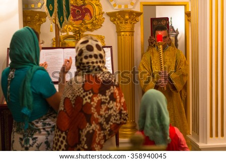 KOH CHANG - THAILAND - JAN 7, 2016: Christmas service and the vigil on Feast of the Nativity of Christ (Russian Orthodox Church) in the temple of St. Sergius of Radonezh, built on island in Jan 2015.