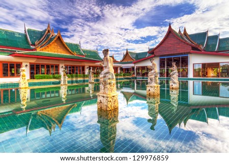 KOH KHO KHAO, THAILAND - NOV 4: Oriental Architecture of Andaman Princess Resort & SPA. Hotel was destroyed by tsunami in 2004 and rebuild, Koh Kho Khao island, Phang Nga in Thailand on Nov. 4, 2012.