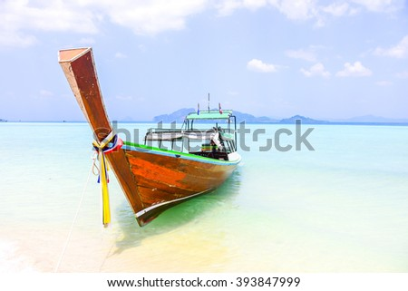 Koh Kradan - Trang southern Thailand - traditional boat on tropical beach